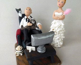 Game Over Bride and Groom, Handmade Polymer Clay Figures and Cake Toppers, Personalized Wedding Toppers and All Occasions
