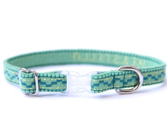Cat Collar - Mint Green - Embroidered - Adjustable - Optional ID Tag