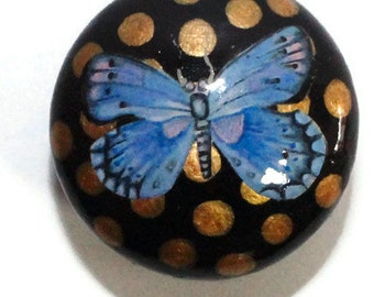 gold polka dot knob, black with blue butterfly, laquered oriental furniture knob, drawer pull, painted cabinet knobs, Japanese Style. LUSH.