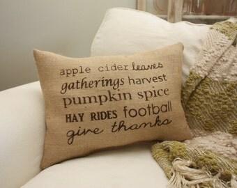 Burlap Pillow - Subway Art Autumn Pillow/Fall Pillow/Toss Pillow