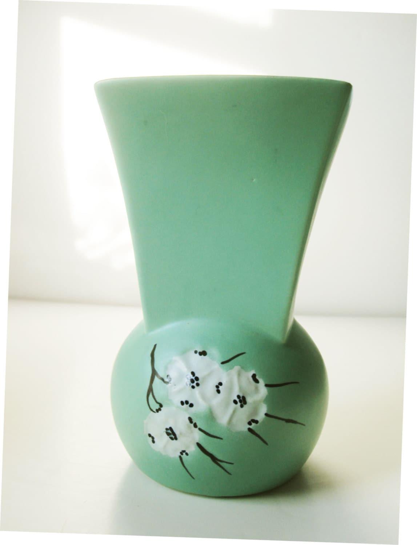 Matte Mint Green Finish Mccoy Vase With Dogwood Pattern