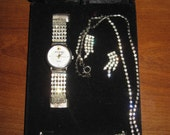 Jacque Cierra Quartz Rhinestone WATCH Set Earrings Bracelet & Necklace