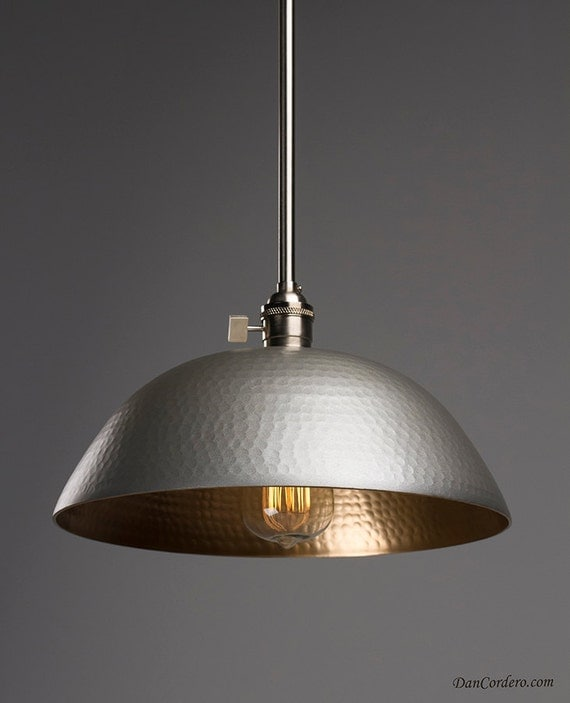 Hammered Gold & Brushed Nickel Pendant Light Fixture Pendant