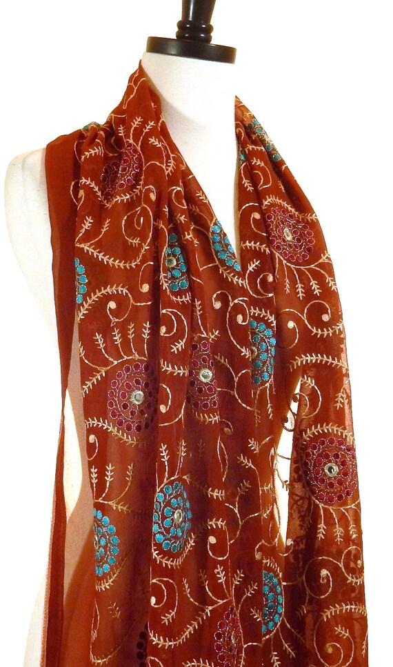 brown silk scarf embroidered silk chiffon scarf by miriboheme