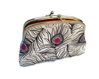 Peacock feather clutch purse in white and pink, frame wallet with kiss clasp and 2 compartments