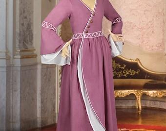 Medieval Costume Lightweight Castle Woman Dress Natural muslin Cotton handmade Maiden Gown Renaissance Clothing