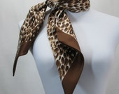 "Vintage Animal Print Head Scarf Brown Tan White Leopard Ocelot 45"" Long Rectangle"
