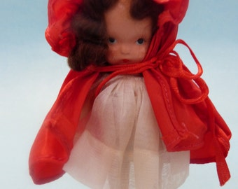 Nancy Ann Story Book Mint Pudgy Tummy Molded Sox: RED RIDING HOOD #116 with box and wrist tag c. 1940