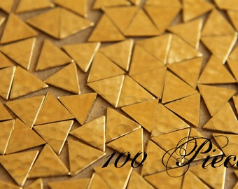 100 pc. Small Raw Brass Hammered Triangles: 8mm by 8mm - made in USA | RB-007-5