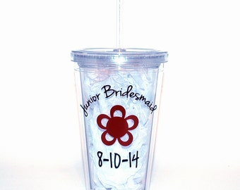 Junior Bridesmaid Tumbler with Lid and Straw - Personalized Jr Bridesmaid Gift
