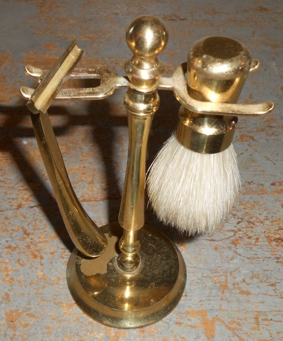 Vintage Shaving Set Brass Brush Razor And Stand Mad Men