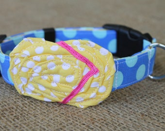 Flip Flop Dog Collar - Two Toned Blue Dot with Yellow Dot Flip Flop and Bright Pink Straps
