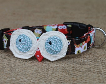 Dog Collar - Brown Owl Print with Cream/Blue Owl Eyes and Red Beak