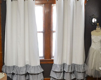 BLACKOUT Ruffle Bottom Grommet Curtains - Two Curtain Panels Ivory White and Grey - Choose Your Size - FREE SHIPPING