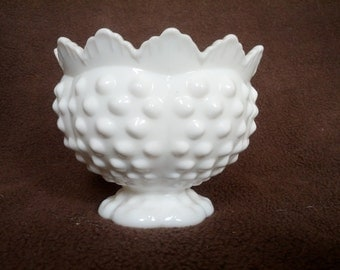 Petite White Hobnail Milk Glass candle holder, scallopped top, very feminine!
