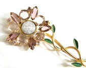 Amethyst Flower Brooch Vintage High Fashion Jewelry Statement Pin Rhinestone Collectible Sparkle