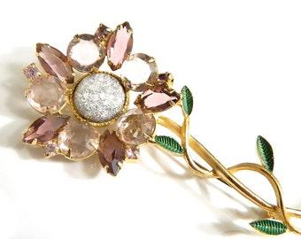 Amethyst Flower Brooch Vintage High Fashion Jewelry Statement Pin Rhinestone Collectible Sparkle