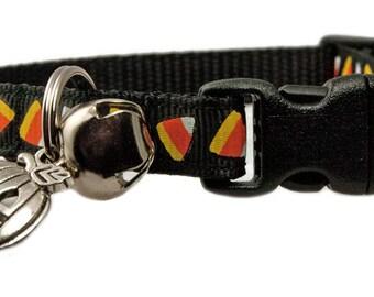 "Halloween Cat Collar 3/8"" Black Candy Acorns Cat Collar with Pumpkin Charm"