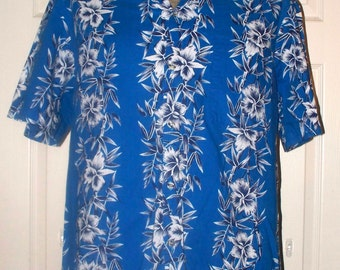Hawaiian Shirt by Hawaiian Blues - Mens Hawaiian Shirt - Vintage - Size L - 100% Cotton
