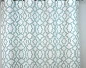 Snowy Pale Blue White Sheffield Quatrefoil Trellis Curtains - Grommet - 84 96 108 or 120 Long by 25 or 50 Wide - Optional Blackout Lining