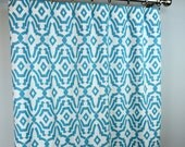 Light Coastal Blue White Chevelle Lattice Curtains - Rod Pocket - 84 96 108 or 120 Long by 25 or 50 Wide - Optional Blackout Lining