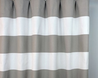 ecru taupe beige white cabana horizontal stripe curtains rod pocket 84 96 108 or