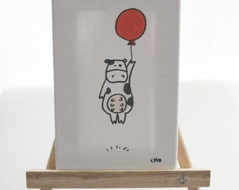 personalized original canvas art - moo cow
