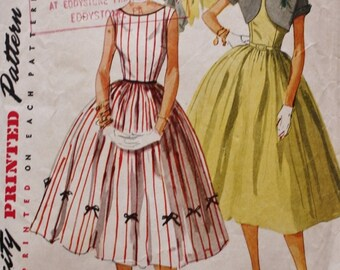 1950s One Piece Dress Sewing Pattern /Short Jacket /Simplicity 4250  /Bust 32 Vintage Pattern