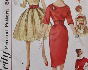 1950s Dress Sewing Pattern / Two Skirts/ Simplicity 3536/ UNCUT /Vintage Pattern /Bust 36