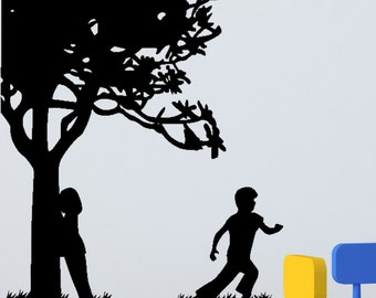 Kids At Play Wall Decals - Kids Playing Hide and Seek decal perfect for any playroom or bedroom