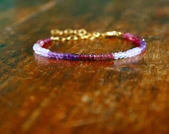 Dainty Pink and Purple Gemstone Bracelet Beaded Delicate Multi Crystal Gold Fill Stacking Bracelet Amethyst Garnet Rose Quartz Tourmaline