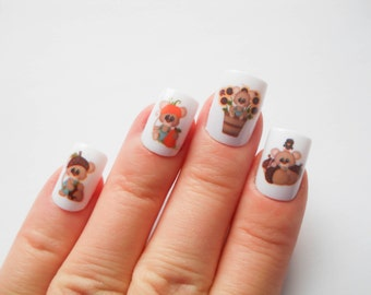 Autumn Mice- Fake Nails, Acrylic Nails, False Nails, Press on, Nails, Autumn, Fall, Cute, Mice, Thanksgiving