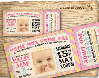 Circus invitation - girls carnival party invitation- pink circus invitation - circus ticket - Printable invitation for girls birthday party