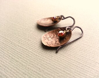 Stamped Rustic Brass Vintage Swarovski Crystal Earrings Sterling Silver Ear Wires Handforged Hammered Jewelry Mixed Metal Simple Modern Chic