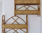 2 Vintage Calico Bamboo Rattan Shelves , Spice Rack, Wicker, Wood, Matching,Shelves,