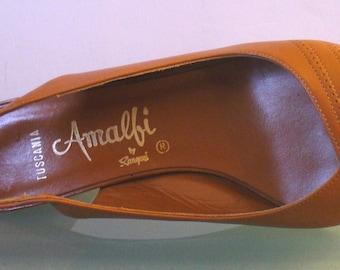 Vintage Made in Italy Amalfi Caramel Peeptoe Sling Backs