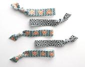 Tribal Fox Set: 5 Elastic Handmade Hair Ties, Aztec