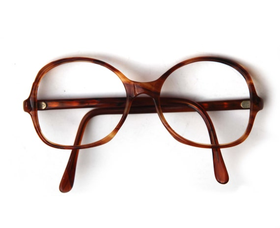 Vintage Tortoise Shell Mens Womens Eye Glasses Round Striped