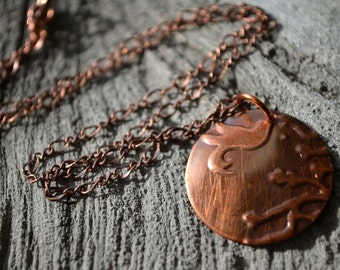 Bird on Branch Necklace, Copper Pendant Necklace, Upcycled Jewelry, Cherry Blossom Jewelry, Japanese Garden, Embossed Metal Jewelry