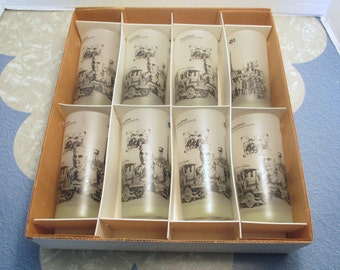 Vintage Libbey Owens Illinois Frosted Black on White - Employee Service Award Glasses  - Set of 8 In Box - New Old Stock - Shipping Included