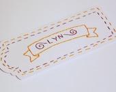 Personalized Name Bookmark Handmade Hand-Embroidered Custom