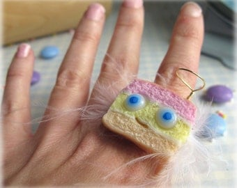 Angel Cake Ring Polymer Clay Funny Jewellery Accessory Fimo Food Pink Yellow Peach Striped Adjustable Ring