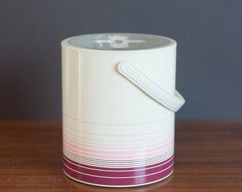 Vintage pink striped ice bucket, feminine barware, pink and burgundy striped bachelorette pad ice bucket