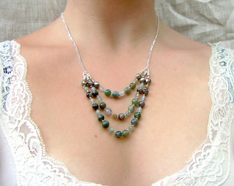 3-Tiered Moss Agate Necklace - Earthy Colors - Elegant Statement Jewelry - Layered Necklace - Sterling Silver - Bib Necklace