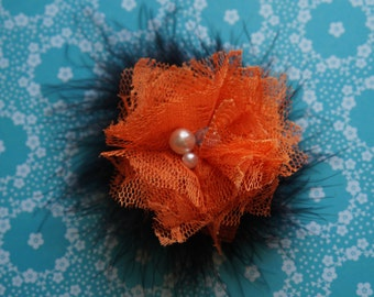 Halloween Style Marabou and Lace Princess Flower Clip
