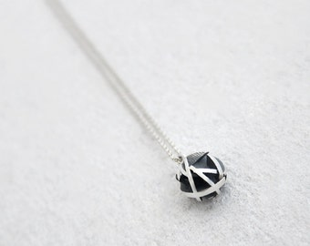 Geometric silver ball necklace in oxidized sterling silver, 3D printed jewelry, round silver pendant on fine chain