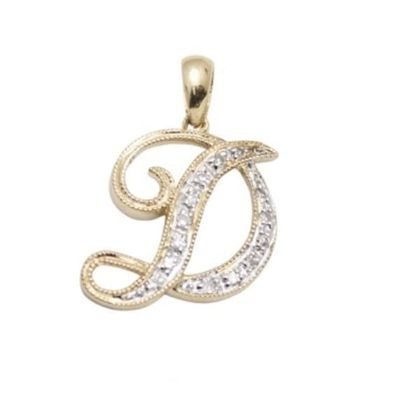 14k SOLID Gold and WHITE Diamond Script Initial Charm Letter