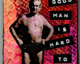 Mixed Media Original Mini Miniature Canvas, OOAK, 3 x 4 inches: A Good Man is Hard to Find, Vintage Bathing Suit, Men