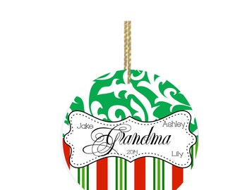 Personalized Christmas Ornaments Grandma Ornament with Christmas Stripes