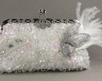 Bridal Clutch - White Bridal Clutch - White beaded wedding purse, Evening Bag, Wedding Purse, Butterfly, wedding, bridal shower gift